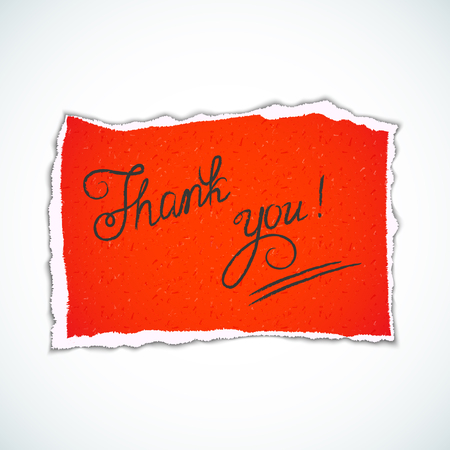 tip style design: THANK YOU hand lettering - handmade calligraphy.Phrase Thank you on red torn piece of paper.Vector illustration Illustration