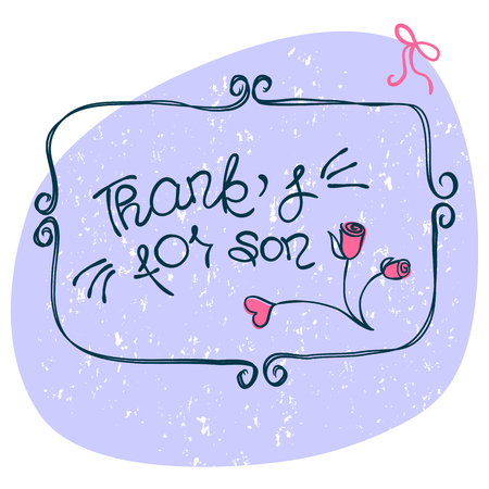tip style design: THANK YOU hand lettering - handmade calligraphy.Phrase Thanks for son in style of doodle.Vector illustration