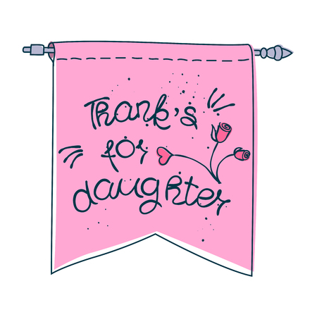 tip style design: THANK YOU hand lettering - handmade calligraphy.Phrase Thanks for daughter in style of doodle on pink banner.Vector illustration