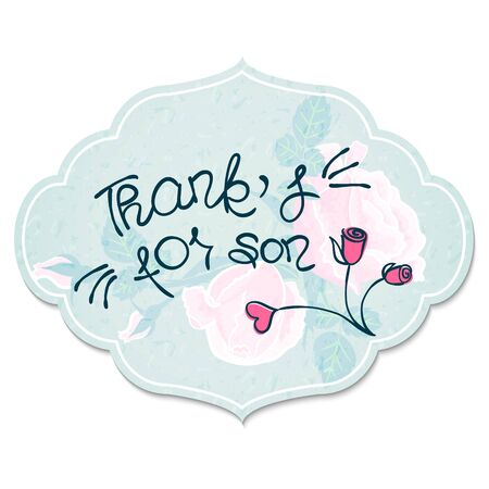 THANK YOU hand lettering - handmade calligraphy.Phrase Thanks for son on old small card.Vector illustration Illustration