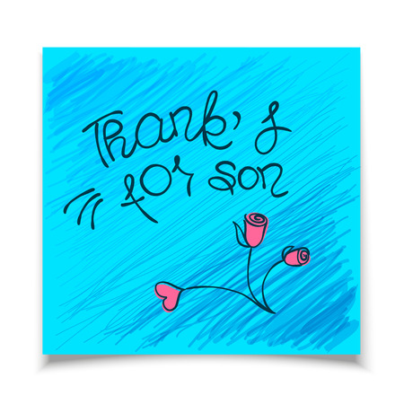 tip style design: THANK YOU hand lettering - handmade calligraphy.Phrase Thanks for son in style of doodle on blue sticker of paper.Vector illustration