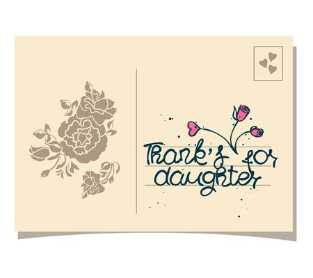 felt: THANK YOU hand lettering - handmade calligraphy.Phrase Thanks for daughter on old card.Vector illustration