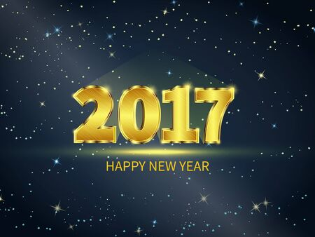 gold numbers: New Year 2017 celebration. Black starry sky with gold numbers. Greeting card template. Vector illustration. Illustration