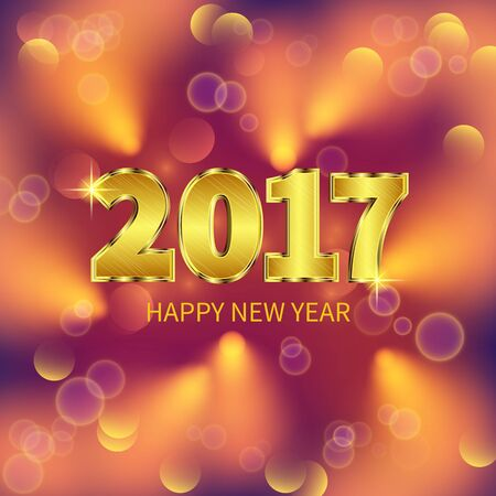 gold numbers: New Year 2017 celebration. Bokeh effect with a gold numbers. Greeting card template. Vector illustration. Illustration