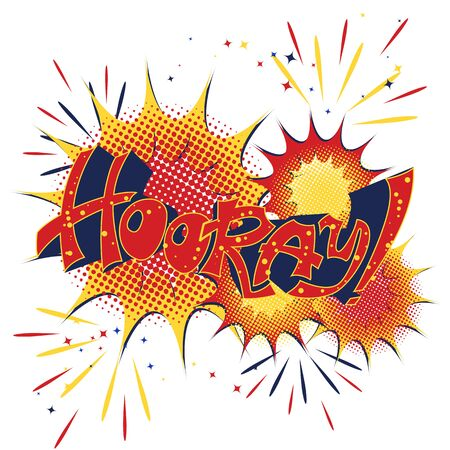 Phrase Hooray hand lettering in the style of urban graffiti.Comic book style.Vector illustration