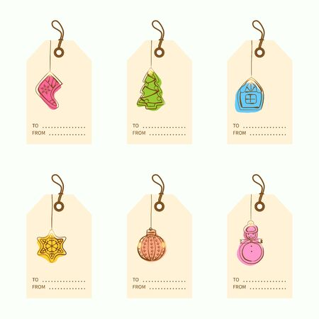 Collection of 6 kraft paper christmas gift tags.Cards with bauble ornaments hanging.Vector illustration. Illustration