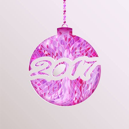 Abstract Christmas ball cut out of paper with the numbers 2017.Vector illustration. Illustration