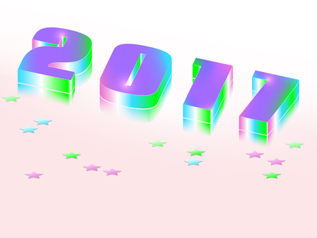 lies: New Year celebration background. 3d figures 2017 with a mirror image.Greeting card template with numbers. Vector illustration. Illustration