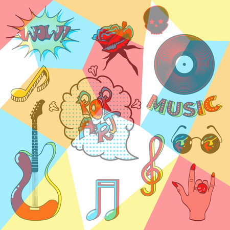 cd label: Collection fashion patch badges with musical symbols.Set of stickers, pins, patches in cartoon comic style.Vector illustration