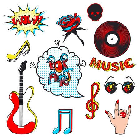 simbolos musicales: Colección de la moda insignias de parche con símbolos musicales aislados sobre fondo blanco. Conjunto de pegatinas, pins, parches en la ilustración de dibujos animados cómico style.Vector