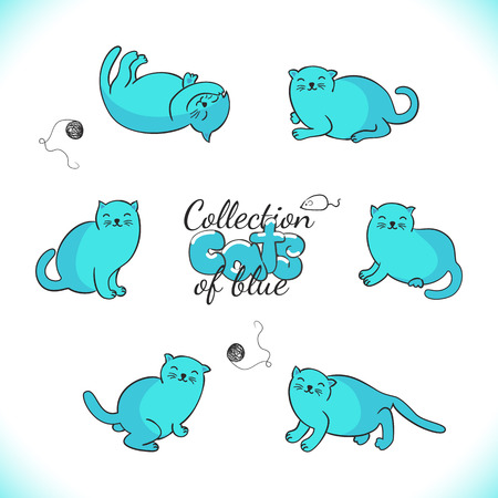 Collection of cute cartoon cats.Set of six funny kittens.Vector illustration