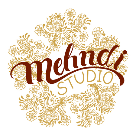 Mehndi studio hand drawn logo. Traditional indian style, elements with henna, design for cards and prints.Vector illustration. Illustration