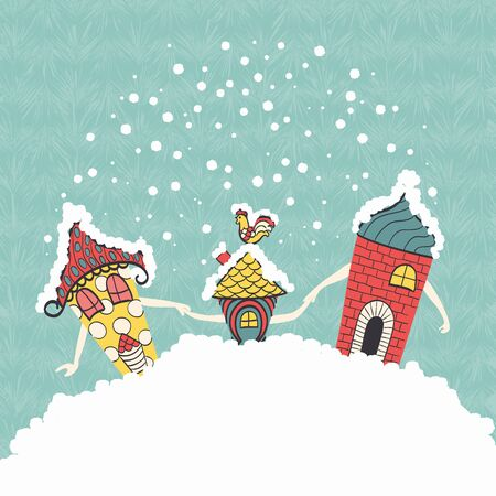 Funny cartoon character family houses go on the snow-capped hills holding hands.Christmas background.Vector illustration. Illustration
