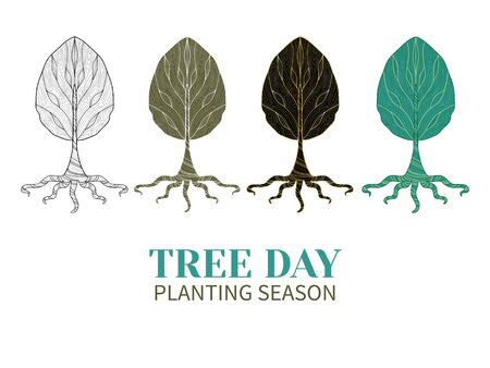 tree planting: Set of isolated symbol tree style zentangl.Collection of four colored trees.Concept of tree day, planting season.