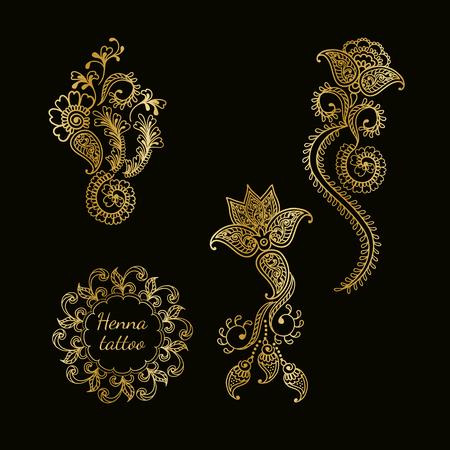 on temporary: Hand drawn set of henna flower lotus elements,yoga design.Mehendi temporary tattoo, doodles collection, monochrome, meditation aura. Illustration