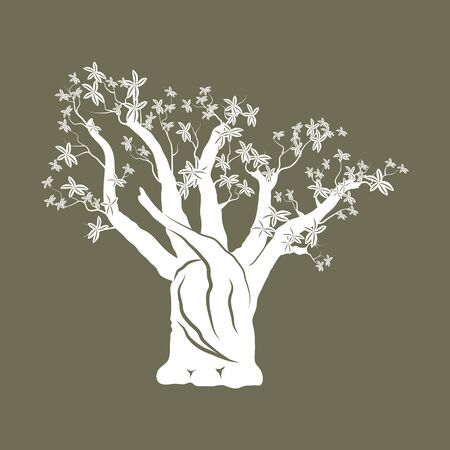 Concept of landscape design.Baobab tree silhouette on craft paper background.