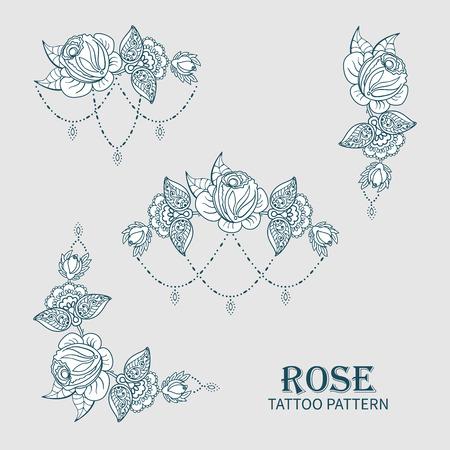 Hand getekende set roos versiering van bloemen elementen voor henna tatoeage, stickers, mehndi flash tijdelijke tattoo.Traditional Indiase stijl, doodles collectie, monochroom.Vector illustratie.