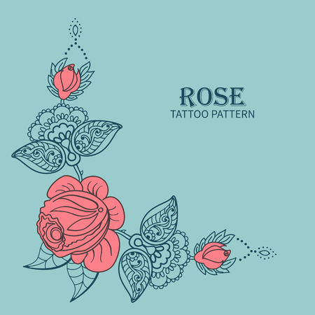 Hand drawn rose ornament of floral elements for henna tattoo, stickers, mehndi flash temporary tattoo.Traditional indian style,doodles collection, monochrome.Vector illustration.