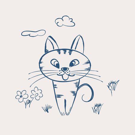 mjau: Cute cartoon cat