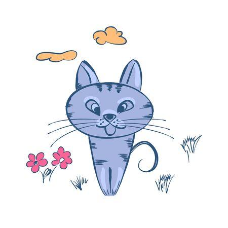 mjau: Cute cartoon blue cat sitting in clearing.Vector illustration. Illustration
