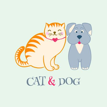 Cute cartoon dog and cat Illusztráció