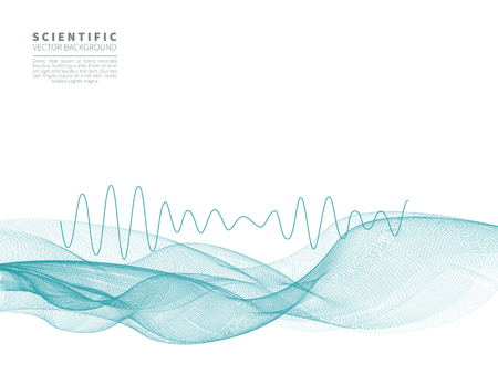Scientific abstract vector background with blue wave and the schedule of frequencies.