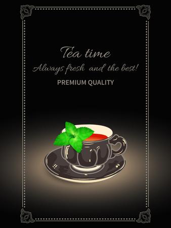 Taza realista de té y de hojas de menta en fondo negro. Invitación o bandera a la fiesta. Foto de archivo - 79404020