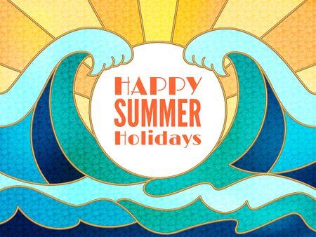Wszystkiego najlepszego z okazji letnich wakacji projekt transparentu z białym okręgu dla tekstu i niebieskim water.Flat streszczenie dużych fal morskich lub oceanu krajobrazu.