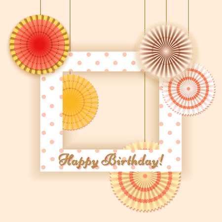 Vintage floral background.Happy Birthday card or invitation with frame and cut flower from paper.Vector illustration.