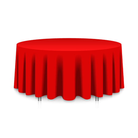 wedding table setting: table with red tablecloth