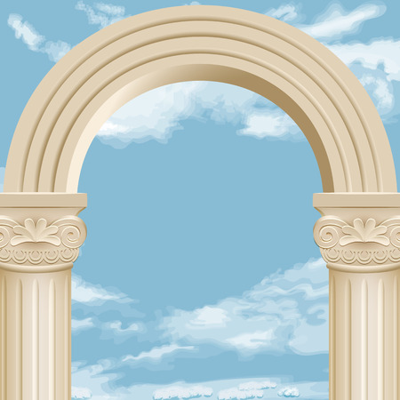 Realistic antique roman column marble arch royal architecture.Vector archway on the background of cloudy sky.
