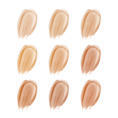 Vector Illustration of Color Shades Palette For corrector Make Up.Collection of make up cosmetic liquid foundation strokes on white.Tone cream,concealer.