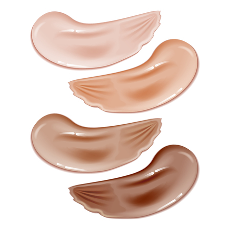 Collection of make up cosmetic liquid foundation strokes on white.Lipstick smears or tone cream,concealer.Vector Illustration