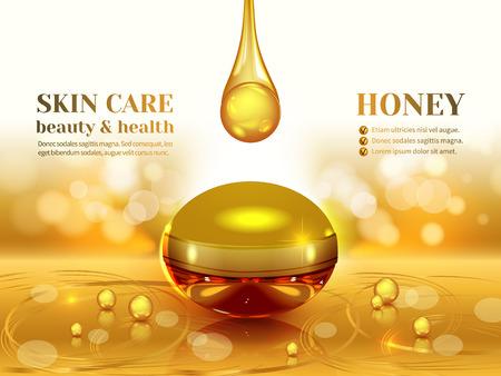 黄金の蜂蜜とオーガニッククリームの瓶、テクスチャ光る黄色の背景上の3d 組成物。化粧品製品の広告、ぼかしやボケの背景、輝く効果を設計しま
