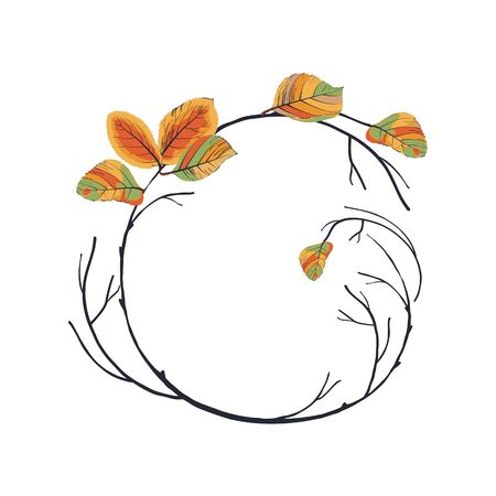 floral: Wreath of autumn leaves Illustration