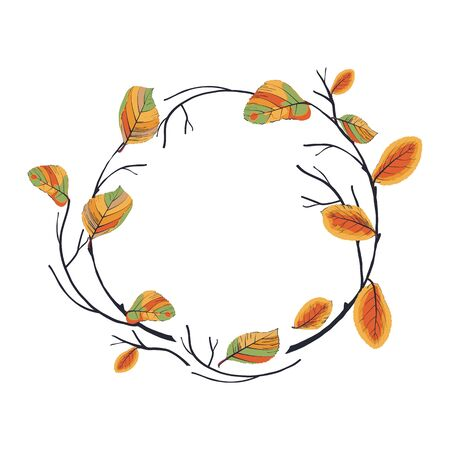 Twigs round frame.Branches with autumn leaves rolled into a ring.Vector wreath isolated on white background,great to texts,quotes, logos.