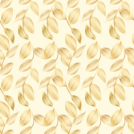 Seamless pattern of contour golden leaves.Rich luxury background with gold lacy foliage and shiny gradient. Çizim