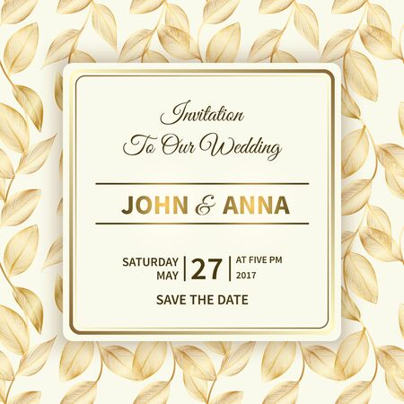 Wedding card or invitation with frame and golden leaves.Rich luxury floral background with gold lacy foliage and shiny gradient.