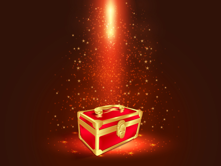 Red and gold box in dark background with glitters and glowing effects.