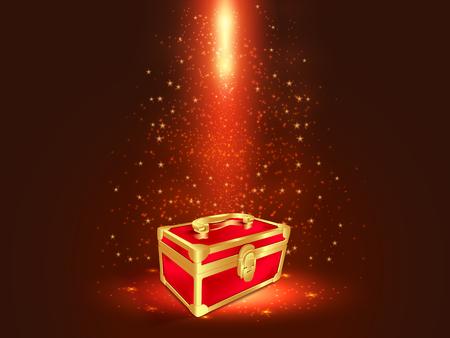 Rot und Goldkasten im dunklen Hintergrund mit Funkeln und glühenden Effekten. Standard-Bild - 89101190