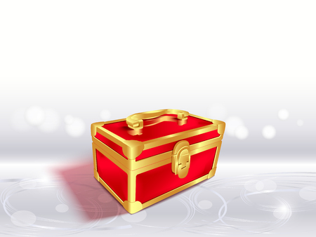 Closed red gift box.3d composition on textured glowing silver background,blur and bokeh background, sparkling effect.Vector background for holidays and party