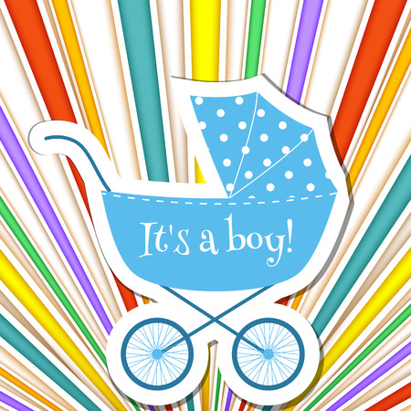 Baby frame with stroller on striped rainbow background Illustration