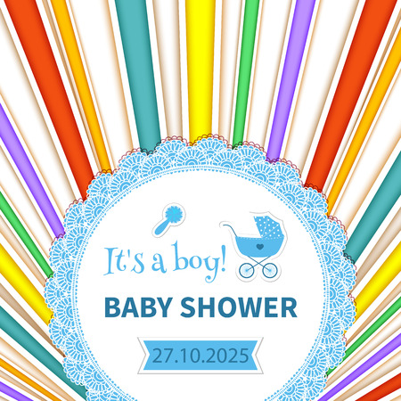 Baby frame with lace and stroller on striped rainbow background. Illustration