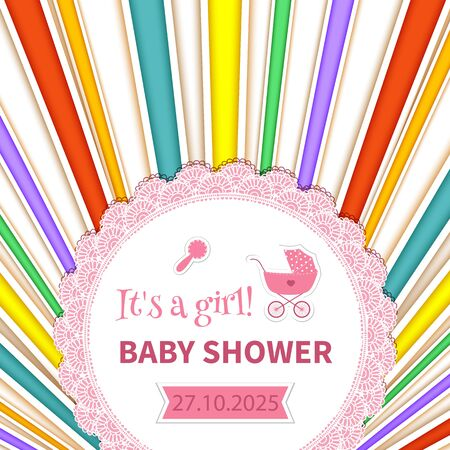 Baby Shower text in a rainbow-colored rays. Illustration