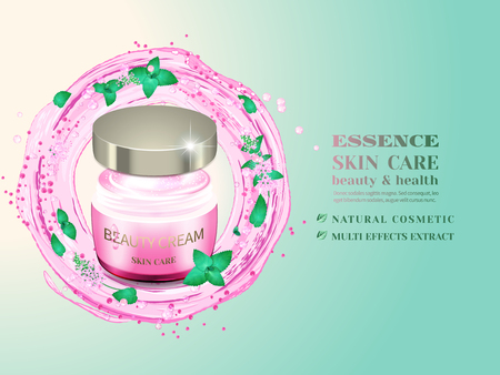 Glass cosmetic bottle and splash of pink water with green leaves and flowers.Advertising cosmetic cream with herbal extract.Design natural cosmetic product, 3d vector illustration.
