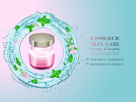 Glass cosmetic bottle and splash of blue water with green leaves and flowers. Advertising cosmetic cream with herbal extract.