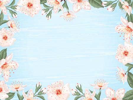 Pink flowers border on light blue texture background. Vector illustration.