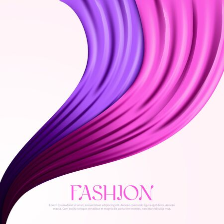 Fashion poster template with flying silk fabric
