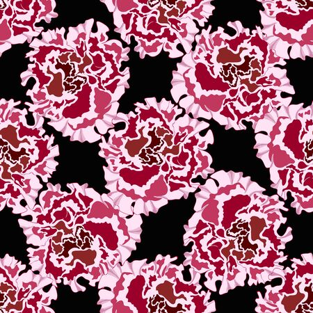 Trendy floral background with large burgundy flowers petunia or peony in hand drawn style on black. Blooming botanical motifs scattered random. Vector seamless pattern for fashion prints. Illustration