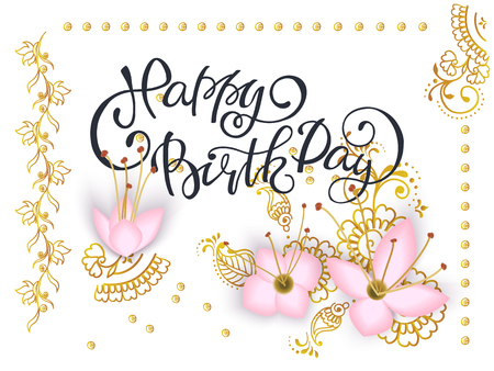 Lettering Happy Birthday Card Template With 3d Paper Pink Flowers
